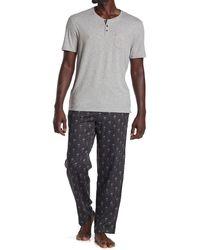 Robert Graham Heathered Pocket T-shirt & Skull Pants 2-piece Pajama Set - Blue