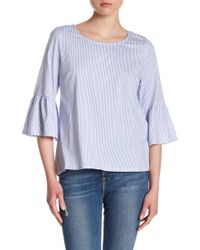 Skies Are Blue - Ruffle Sleeve Striped Jersey Top - Lyst