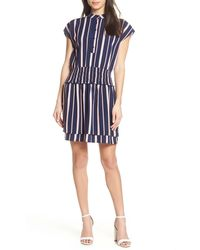Charles Henry Smocked Stripe Dress - Blue