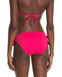Tommy Bahama Pearl Side Tie Shirred Hipster Bikini Bottoms - Pink
