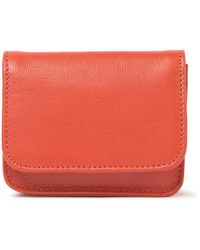Tusk Foldover Leather Coin Purse - Red