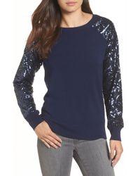 Halogen - Sequin Sleeve Sweatshirt (regular & Petite) - Lyst