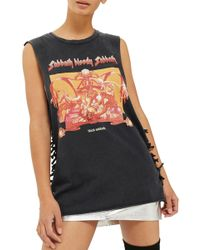 TOPSHOP - By And Finally Black Sabbath Graphic Side Tie Tank - Lyst