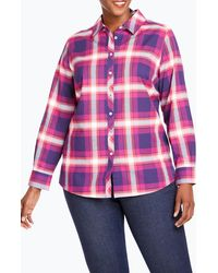 Foxcroft Trisha In Fall Tartan Plaid Shirt - Pink