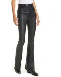 Rag & Bone Jane Super High-rise Flare-leg Leather Pants - Black