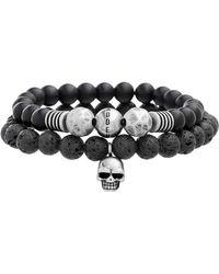 Steve Madden - Skull Charm Duo Black Onyx & Lava Stone Beaded 2-piece Bracelet Set - Lyst