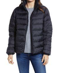 Nordstrom Zip Puffer Coat - Blue