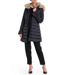 Laundry by Shelli Segal Faux Fur Timmed Bell Cuff Quilted Parka - Multicolour