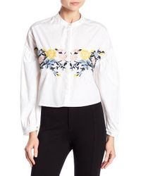 Love, Fire - Embroidered Ruffle Blouse - Lyst
