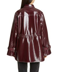 Ganni Faux Patent Leather Jacket - Red