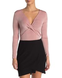 Lush Long Sleeve Wrap Bodysuit - Purple
