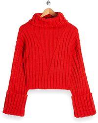 TOPSHOP Turnback Cuff Turtleneck Sweater - Red