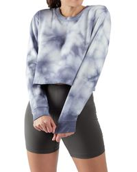 90 Degrees Tie Dye Brushed Cropped Long Sleeve Top - Blue
