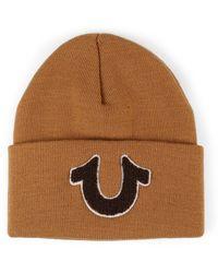True Religion Chenille Horseshoe Knit Watchcap Beanie - Brown