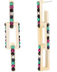 Steve Madden - Multi-colored Crystal Square Bar Earrings - Lyst