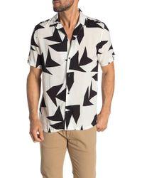 Vestige Triangle Jungle Camp Collar Trim Fit Shirt - Black