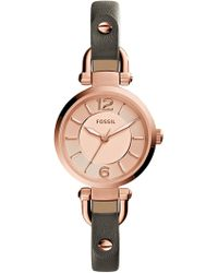 Fossil - Women's Georgia Gray Small Round Leather Strap Watch, 26mm - Lyst