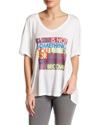 Peace Love World - Oversized V-neck Graphic Tee - Lyst