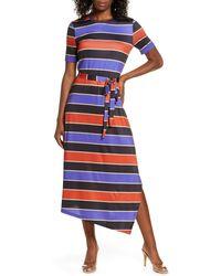 Charles Henry Stripe Belted Asymmetrical Midi Dress - Blue