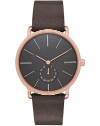Skagen Hagen Leather Strap Watch, 40mm - Brown