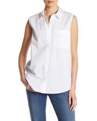 NYDJ - Cutaway Sleeveless Button Down Shirt - Lyst