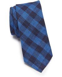 Original Penguin Cornyn Plaid Print Tie - Blue