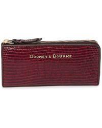 Dooney & Bourke Reptile Embossed Leather Zip-around Wallet - Brown