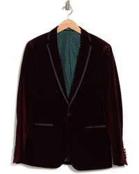 Paisley and Gray Maroon One Button Notch Lapel Extra Trim Sportcoat - Black