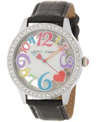 Betsey Johnson Women's Crystal Pave Croc Embossed Strap Watch, 43mm - Multicolour