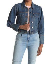 Veronica Beard Bell Cuff Crop Denim Jacket - Blue