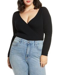 Leith Ribbed Wrap Front Sweater - Black