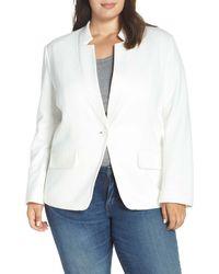 Gibson Inverted Notch Collar Cotton Blend Blazer (plus Size) - White