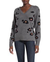 Skull Cashmere Alani Leopard Print Wool & Cashmere Sweater - Gray