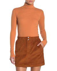 BP. Turtleneck Long Sleeve Ribbed Top - Orange
