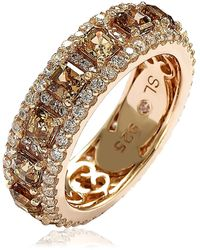 Suzy Levian Rose-tone Sterling Silver Brown Asscher Cut & White Cz Eternity Band Ring