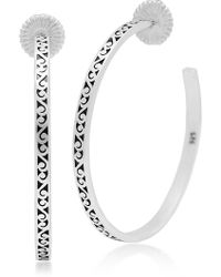 Lois Hill - Sterling Silver Extra Large Classic Hand Carved 45mm Scroll Hoop Earrings - Lyst