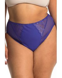 Elomi Charley Lace Panel High Waist Brief - Blue
