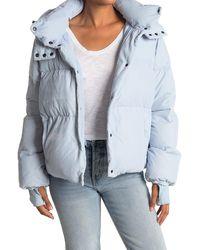 Sam. Sydney Velvet Hooded Down Puffer Jacket - Blue