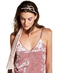 Cara - Floral Headband With Crystal Accent - Lyst