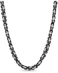Steve Madden Stainless Steel Byzantine Chain Necklace - Metallic
