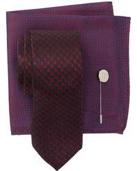 Ben Sherman Silk Maxwell Houndstooth Tie, Pocket Square, & Lapel Pin Set - Multicolour