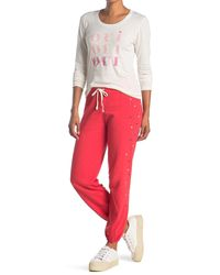 Sundry Heart Print Sweatpants - Red