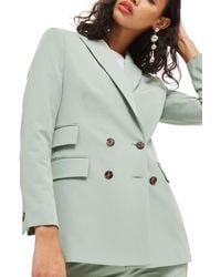 TOPSHOP Longline Double Breasted Suit Jacket - Green