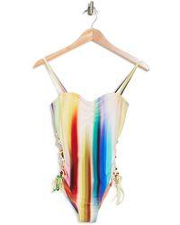 RACHEL Rachel Roy Printed Lace-up One-piece Swimsuit - Multicolour
