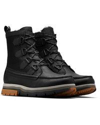Sorel Atlis Caribou Lux Genuine Shearling Lined Boot - Black