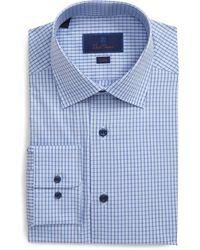 David Donahue Slim Fit Tattersall Dress Shirt - Blue