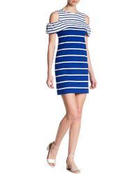 Vince Camuto - Striped Cold-shoulder Dress - Lyst