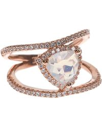 CZ by Kenneth Jay Lane - Trillion Glass Cz Opal & Cz Accent Double Band Ring - Lyst