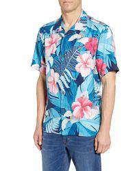 Tommy Bahama Hibiscus Hues Tropical Floral Print Silk Hawaiian Shirt - Blue
