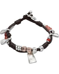 Uno De 50 - Micron Silver Plated Metal Double Leather Cord Bracelet - Lyst